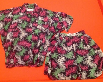 Vintage 1980's Norma Kamali Shirt and Short set