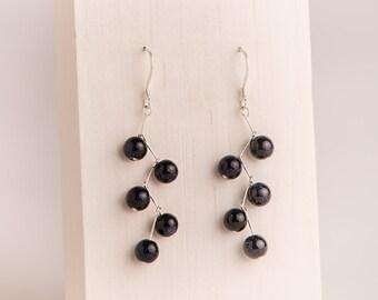 Blue Goldstone Zig-Zag Earrings