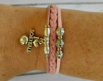 Softball Bracelet// Team Colors// Softball Mom// Softball Coach// Softball Gift// Custom Sports Bracelet for Girls// Choose Colors & Charm