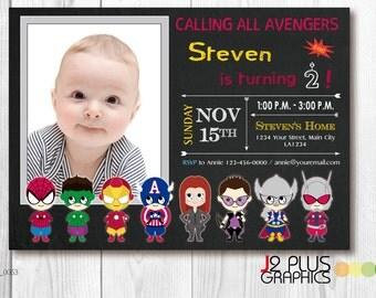 Photo AVENGERS BIRTHDAY INVITATION Card, Avengers Photo Birthday Invitation with Photo, Photo Superhero Birthday Party Invitations, Invites