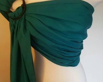 Teal and black ring sling, wrap carrier, baby wearing, baby carrier, 'maya' style sling, shower gift, boy girl