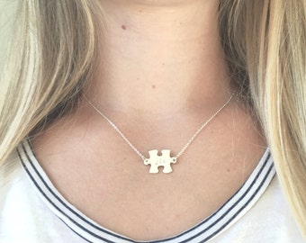 Silver Autism Awareness Puzzle Necklace / Sterling Silver / Personalized