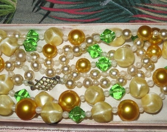 1950s signed vintage 2 strand glass pearl, green glass necklace with rhinestone clasp