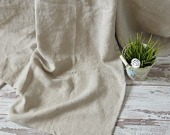 Natural undyed linen throw blanket with fringe / without fringe - Thick linen throw - Rustic linen throw - Simple linen bedspread