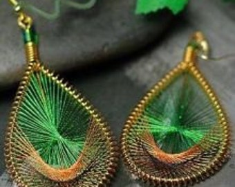 Green Peacock tail earrings