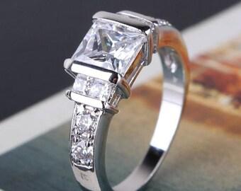 Wedding ladies engagement ring white gold 18 K Gold GP
