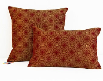 Silk Pillow Cover in Spice and Gold with Invisible Zipper, Silk Damask Christmas Pillow Cover, Marble Silk Pillow Cover