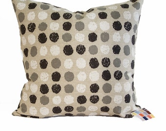 Pillow Cover Close Out SALE, Pillow Cover with White Black and Gray Dots on Beige, Close-Out SALE 20 x 20 Beige Pillow Cover with Dots