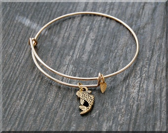Gold Koi Fish Charm Expandable Bangle Bracelet, Adjustable Bangle, Stacking Charm Bracelet, Fish Charm Bangle, Stacking Bangle Bracelet