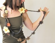 Long Crochet Necklace, Shaggy Chocolate beige grey, fuzzy, two Crochet Flowers, Cream,  Orange Salmon, Choice One or Two crochet Necklace