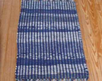 "Handwoven Rag Rug, ""Happy Blues"""