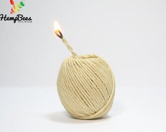 Organic Hemp Wick BALL by HempBees. 50 Ft. Comfortable to hold!