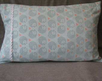 Hedgehogs and hearts cotton flannel standard size handmade pillowcase