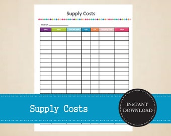 Supply Costs - Business Planner - Printable and Editable - INSTANT PDF DOWNLOAD