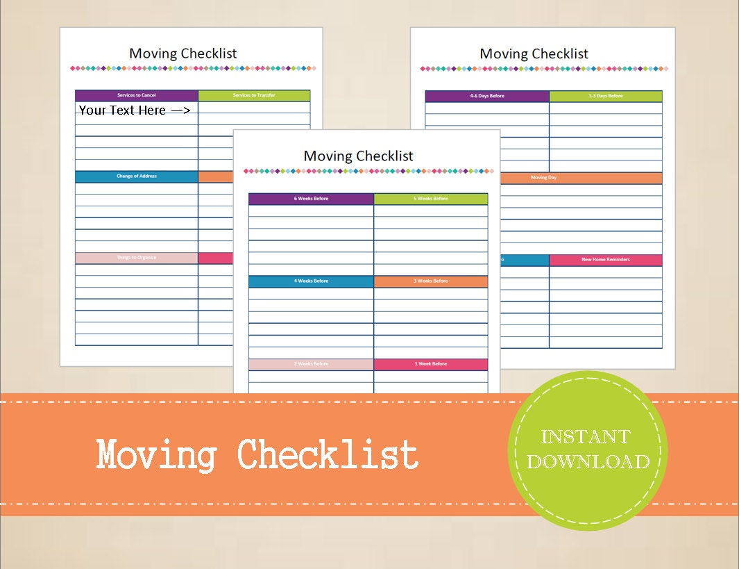 moving checklist moving planner printable and editable