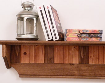 Wood Wall Shelf 35 Inches-Two colors pattern, four panels