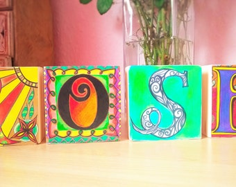 Personalised children's name blocks