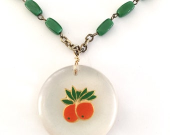 Fruits Motif In Plastic Vintage Green Rosary Chain Upcycled Necklace