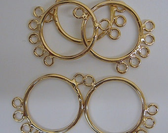 18K Gold Filled Earring Findings for jewelry parts size 33x25mm with 6 connected jump rings size 4mm GF9062