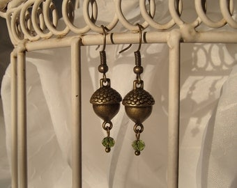 Brass Acorn Earrings with Forest Green Crystals