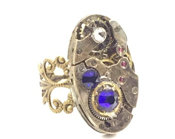 OVAL ROYAL BLUE Steampunk Vintage Ring