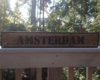 Subway City Sign on reclaimed wood