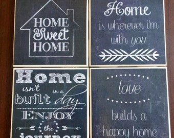Chalkbord Home Coasters- Set of 4