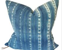 "26"" Indigo African Mudcloth Pillow   Blue African Mud Cloth Pillow   Vintage Indigo Pillow   Faded Blue Pillow   26"" x 26""   Bohemian Pillow"