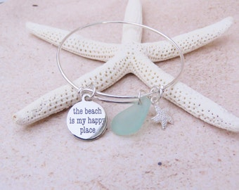 The Beach is My Happy Place - Silver Plated Bangle Bracelet with Genuine Sea Glass Charm