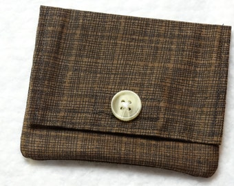 Brown fabric credit card holder and cash wallet
