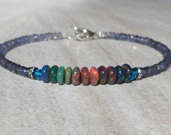 Opal Bracelet, Black Opal Bracelet, Ethiopian Opal Bracelet, Gemstone Bracelet, Iolite Bracelet, Fiery Opal Bracelet, Flashy Opal