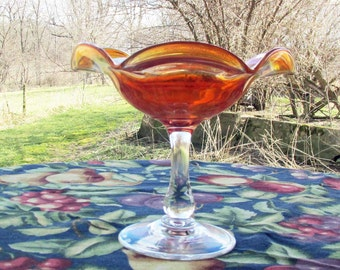 Amber Iridescent Carnival Glass, Vintage Candy Dish