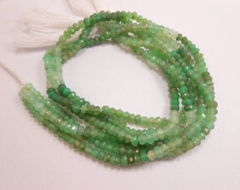 """Chrysoprase Rondelle Micro Faceted Beads 13"""" long Strand Shaded."""