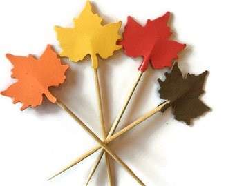 Thanksgiving Party Decor, Autumn Leaf Confetti, maple leaves decorations, party cupcake topper, fall food picks, table scatter, fall wedding
