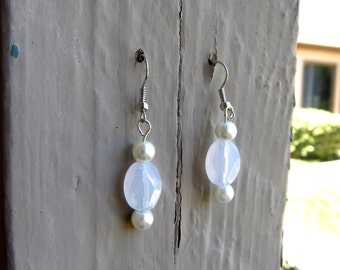 White & Pearl Earrings