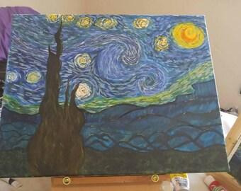 Rendition of Van Gogh's starry night. Acrylic 16x20