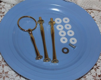 Gold round cake stand hardware, 2, 3 or 4 tier fitting, cake stand handle, stem, cake stand rod, cake stand supply, DIY cake stand