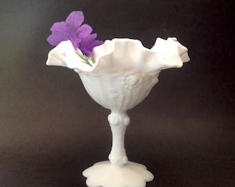 Vintage Fenton Milk Glass Pedestal Compote - Fenton Rose Milk Glass - Fenton Glass Ruffle Bowl