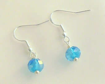 Blue Crystal Earrings - Blue Dangle Earrings - Drop Earrings