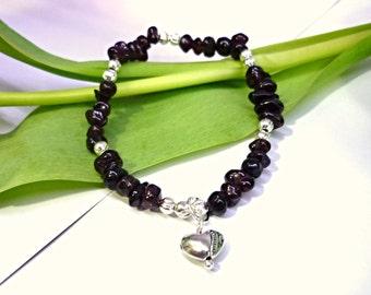 Garnet bracelet, garnet chips bracelet, natural stone bracaelet