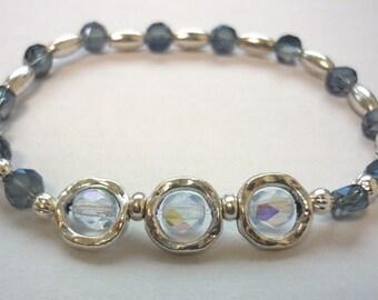 Blue cristals beaded bracelet