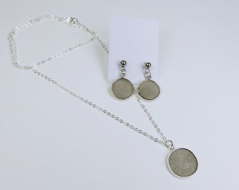 Jewelry set pairs of earrings and pendant concrete jewelry to silver link chain necklace with concrete grey concrete jewelry earrings