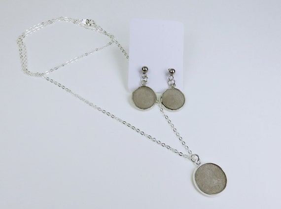 Jewelry set pair of earrings and necklace with pendant concrete jewelry on silver-colored links chain concrete grey stud earrings Concrete Jewelry