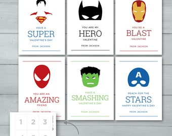 Superhero Valentines     Spiderman, Batman, Captain America, Superman, Hulk, Iron Man Valentine Cards