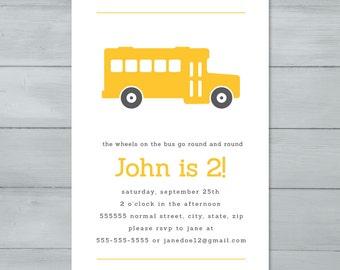 School Bus Birthday Party Invitation  |  Bus Invite  |  Bus Birthday Invitation