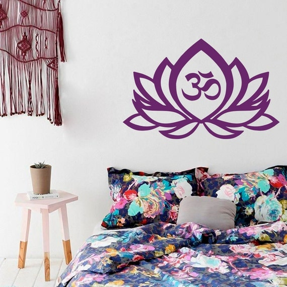 Wall Decal Lotus Flower Om Sign Symbol Vinyl By
