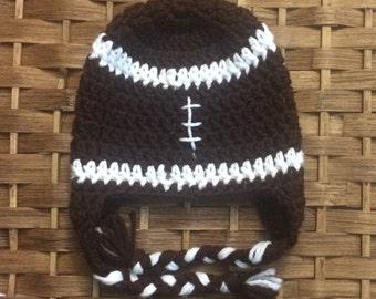 Baby boy crochet football beanie