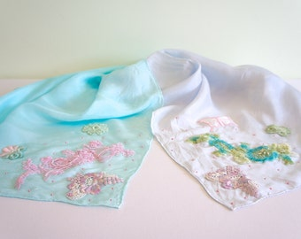 One of a kind, hand embellished pale blue and pale aqua silk sarong with beaded and venise lace appliqué
