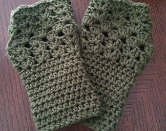 Green Fingerless Gloves, Green Wristwarmers, Green Gloves, Green Mittens, Green Wrist Warmers, Wristwarmers, Arm Warmers