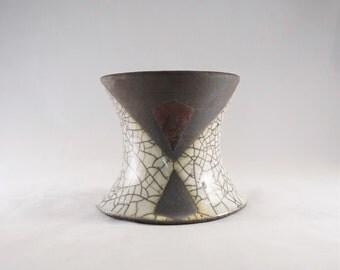 Diamond Raku Candle Holder | Handmade | Stoneware